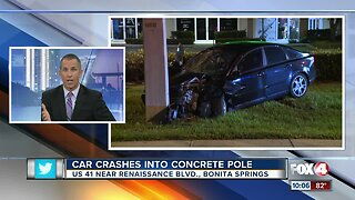 Driver recovering after crashing into a concrete utility pole in Bonita Springs