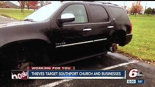 Car wheels stolen from church parking lot in Southport - Video