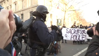 Police Clash With Groups of Protesters Amid Central Paris Rally - Video