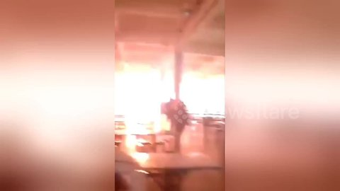 Students flee when explosive electrical fire breaks out at university canteen