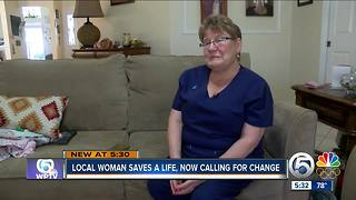 Local woman saves a life, now calling for change - Video