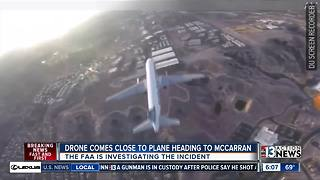 Drone comes close to plane heading to McCarran - Video