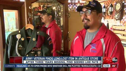 Veteran finds lost uniform in antique store after three years