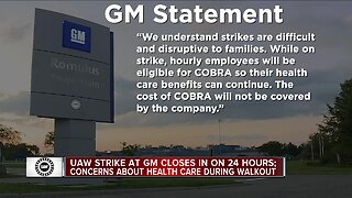 UAW strike at GM closes in on 24 hours; concerns about health care during walkout