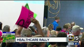 Mayor Stanton and dignitaries gather for healthcare rally