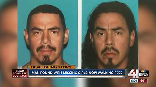 Man found with missing girls released after questioning - Video