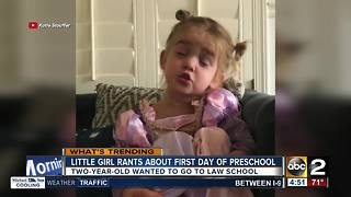 Two-year-old goes viral describing first day of preschool - Video
