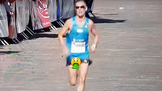Marathon Runner Doesn't Feel His D*ck & Balls Flopping Around - Video
