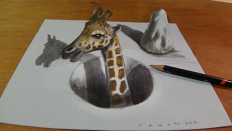 Drawing a Giraffe in a Hole, 3D Illusion by Vamos