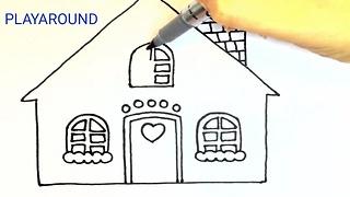 How to Draw Christmas House  For Kids - Video