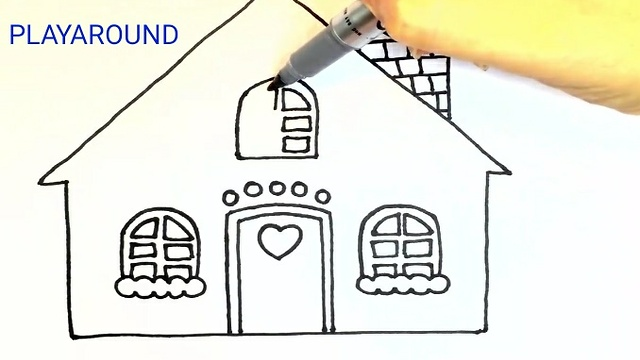 Christmas House Drawing.How To Draw Christmas House For Kids