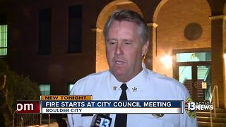 Fire starts at city council meeting - Video