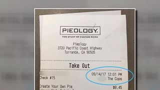 Police gets nasty note on pizza receipt - Video