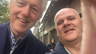 Bill Clinton Braves Ophelia to Pose for Dublin Selfie - Video