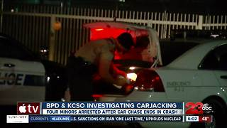Car jacking in central Bakersfield leads to a number of arrests - Video