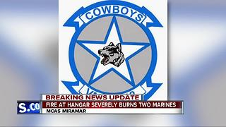 Fire at hangar severely burns two Marines - Video