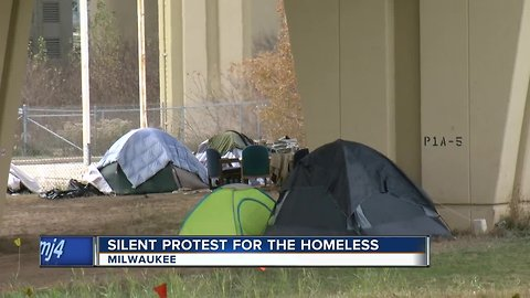 Silent protest for the homeless