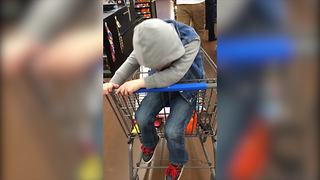 """Little Boy Falls Asleep in Shopping Cart"""