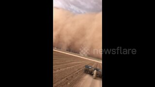 'That's mother nature!' Texas farmer films massive dust storm swallowing up fields
