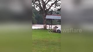 Family of five washed away after driving across flooded river - Video