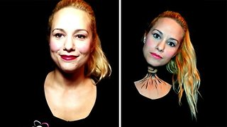 Makeup Artist Creates Creepy Twisted Neck Illusion  - Video