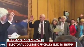 After raucous electoral vote in Colorado and removal of elector, Trump reaches 270 votes anyway - Video