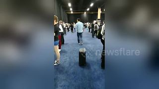Self-driving luggage follows man around CES 2018 - Video