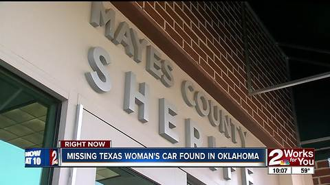 Missing Texas woman's vehicle found in Mayes County