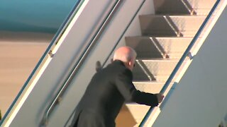 Biden Stumbles On Stairs As He Boards Air Force One