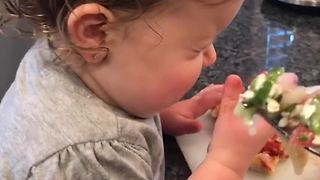 Little Girl Loves Pizza And Hates Veggies - Video
