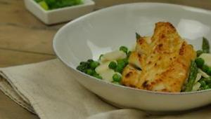 Vietnamese Broiled Cod with Asparagus, Peas, and Water Chestnut Stir-Fry - Video