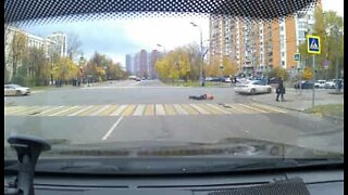 Man dragged along a Moscow street by speeding car