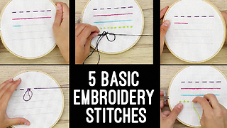 5 Easy Embroidery Stitches - Video