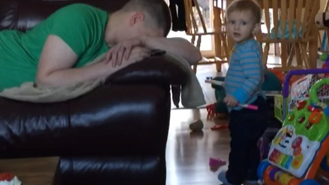 A Toddler Wants Her Father To Change Her Diaper