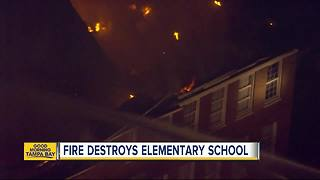Three-alarm fire at Robert E. Lee Elementary school visible from I-275 - Video