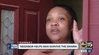 Woman comes to aid of neighbor stung by bees in Glendale - Video
