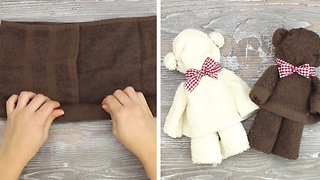 Soft toy Teddy Bear using a towel - Video