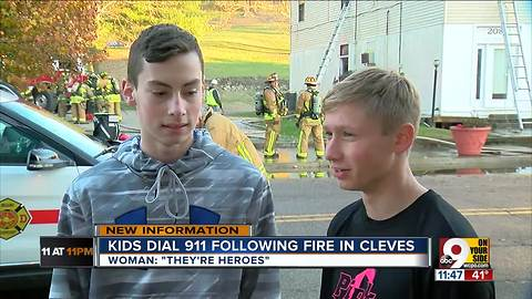 Teens call 911 to help Cleves woman after apartment fire