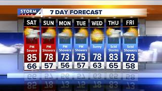 Hot Saturday with chance of storms - Video