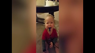 Baby Cracks Up at The Sound of His Whistle - Video