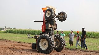 Indian Daredevil Farmer Performs Jaw-Dropping Stunts And Wheelies On His Tractor - Video