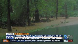 Torrential rain causing flooding in parts of Maryland