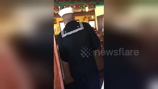 Navy sailor surprises his mother with early homecoming - Video
