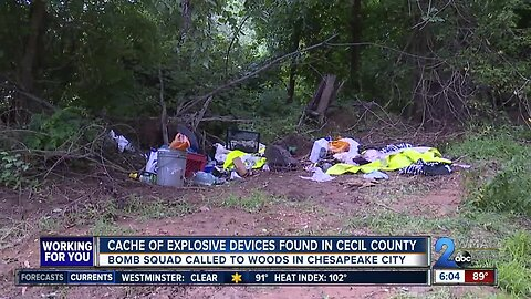 Cache of explosive devices found in Cecil County