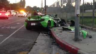 McLaren Sports Car Destroyed After Collision With Audi in LA - Video