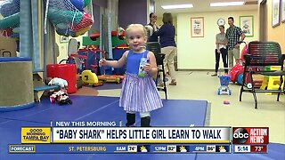 'Baby Shark' helps toddler with spina bifida learn to walk