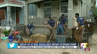 Group of at-risk youth help repair veteran's home - Video