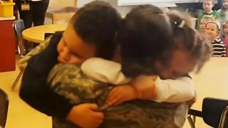 Deployed Mom Surprises Kids At School - Video