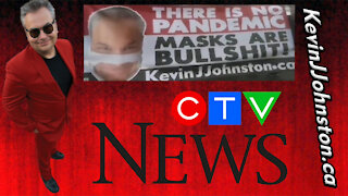 Kevin J Johnston At CTV Head Office - There is NO PANDEMIC Banner