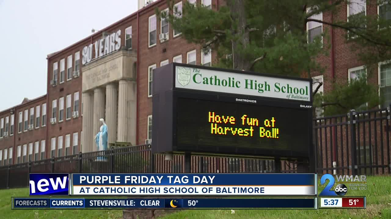 Purple Friday tag day held at Catholic High School of Baltimore